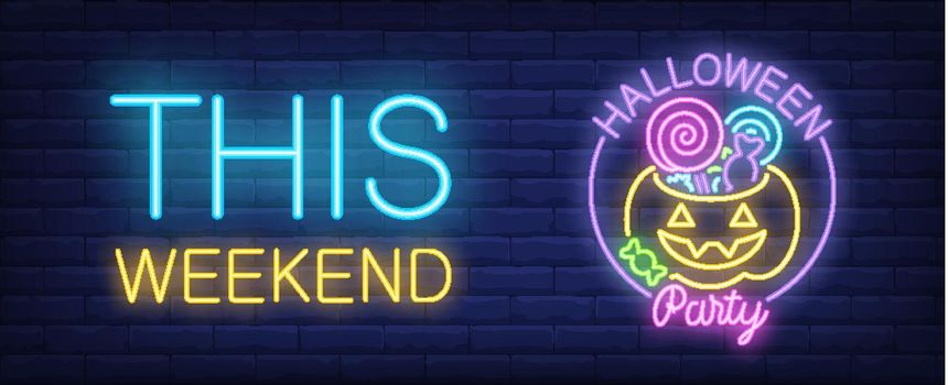 Halloween party neon style banner. This weekend and pumpkin