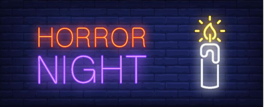 Horror night neon style banner. Candlelight on brick background