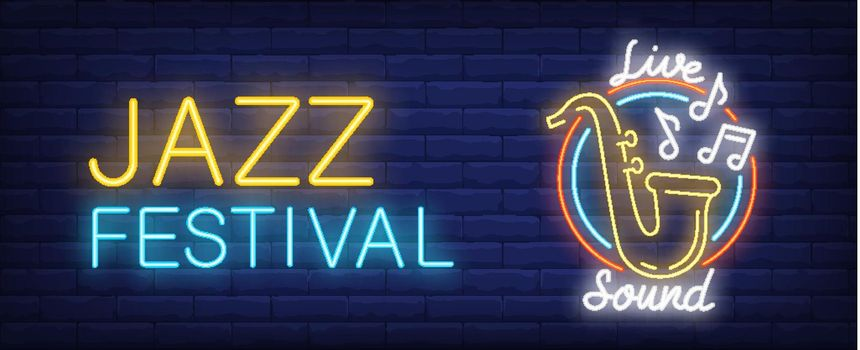 Jazz festival with live sound neon sign