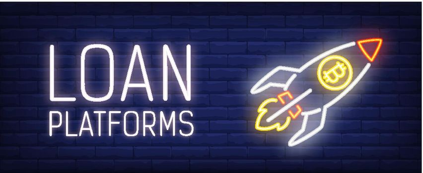 Loan platform vector illustration in neon style