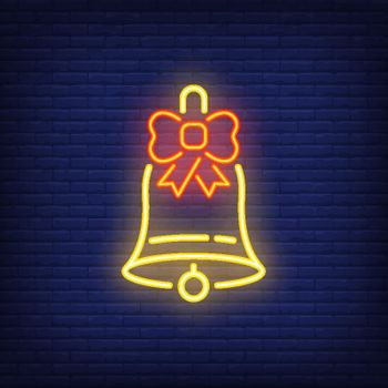 Neon Christmas bell with bow