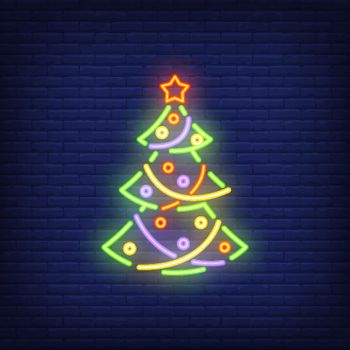 Neon Christmas tree with ornaments
