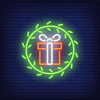 Neon gifts in fur wreath