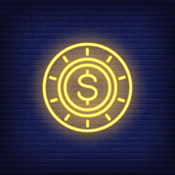 Neon poker chip with dollar sign
