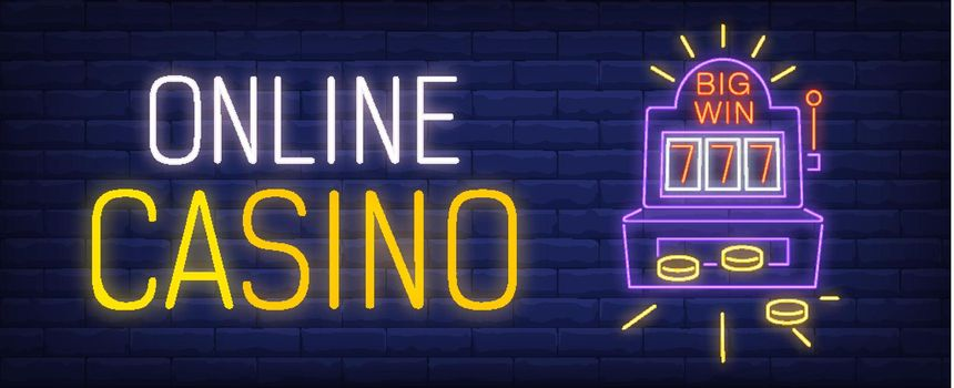 Online casino neon sign with slot machine