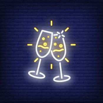 Pair of neon Champagne flutes