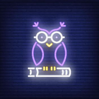 Owl on book neon sign