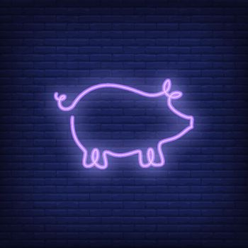 Pig shape neon sign template