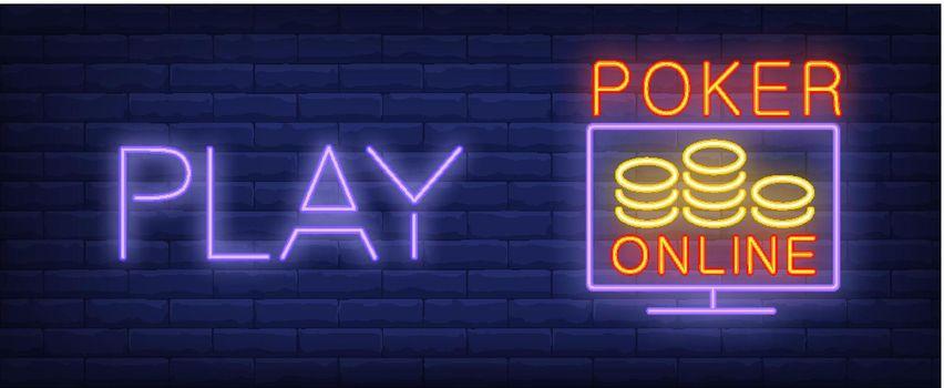 Play poker online vector illustration