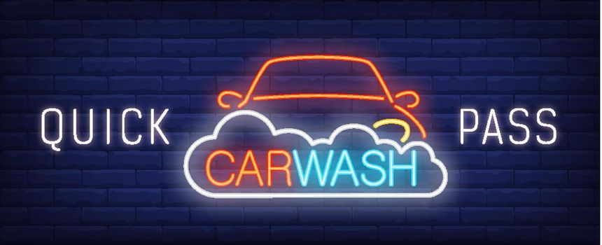 Quick pass car wash neon sign