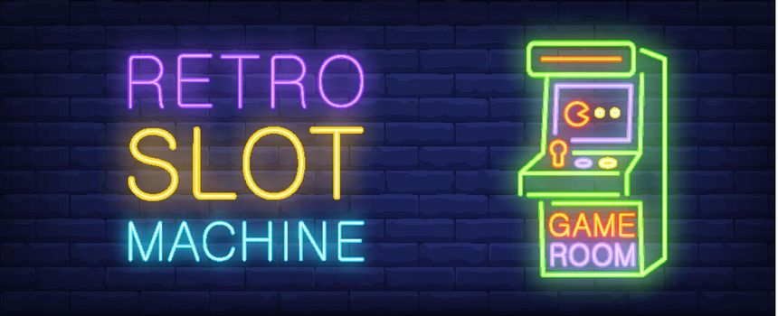 Retro slot machine neon style banner on brick background