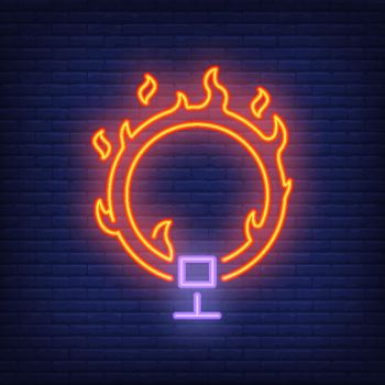 Ring on fire neon icon