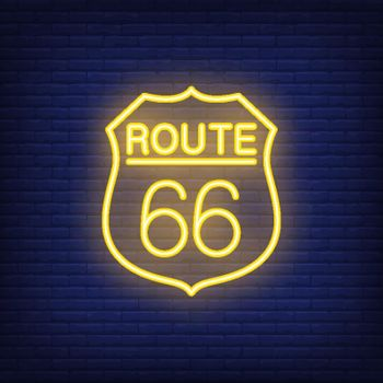 Route sixty six badge. Neon style vector on brick background