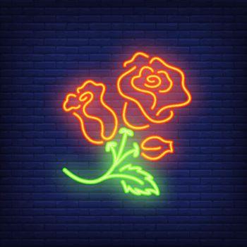 Rose bush neon sign element