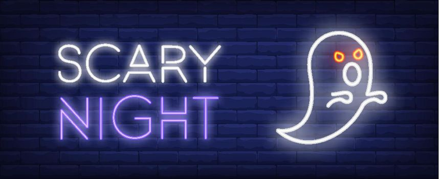 Scary night neon style banner. Spooky ghost on brick background