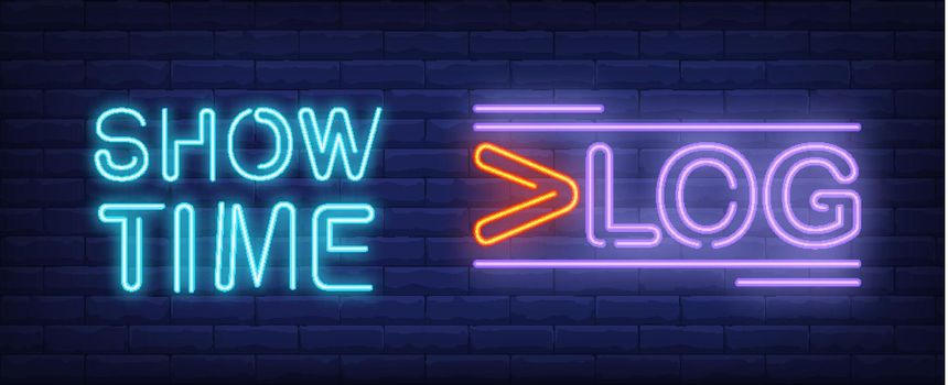Show time on vlog neon sign