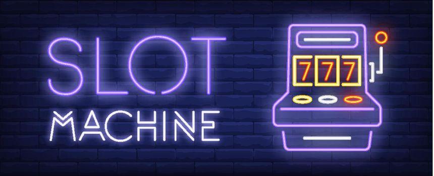 Slot machine neon sign on brick wall