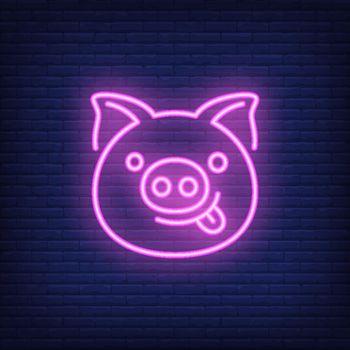 Smiling pink pig cartoon character