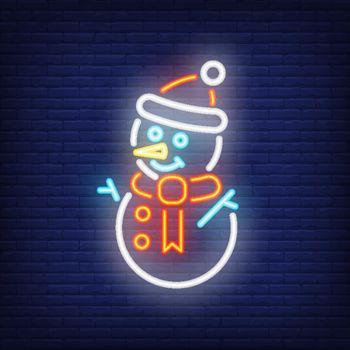 Snowman night bright sign element