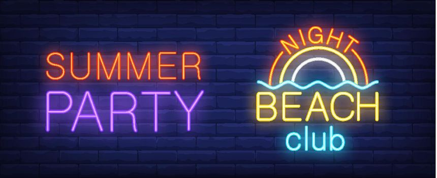 Summer party in night beach club neon sign