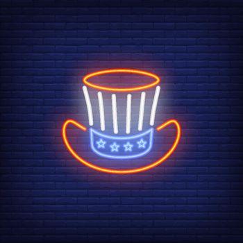 Uncle Sams hat. Neon style illustration on brick background