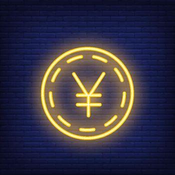 Yen coin on brick background. Neon style illustration