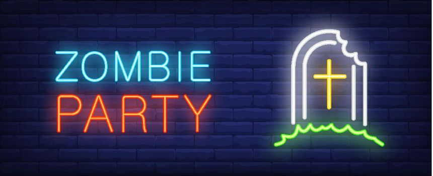 Zombie party neon style lettering. Tombstone with bite