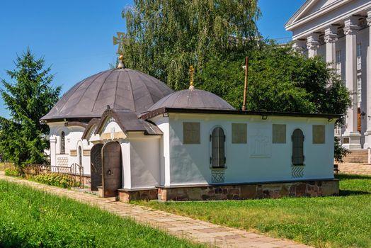Kyiv, Ukraine 07.11.2020. Church of St. Nicholas of Myra near the Kiev Detinets, Ukraine, on a sunny summer day