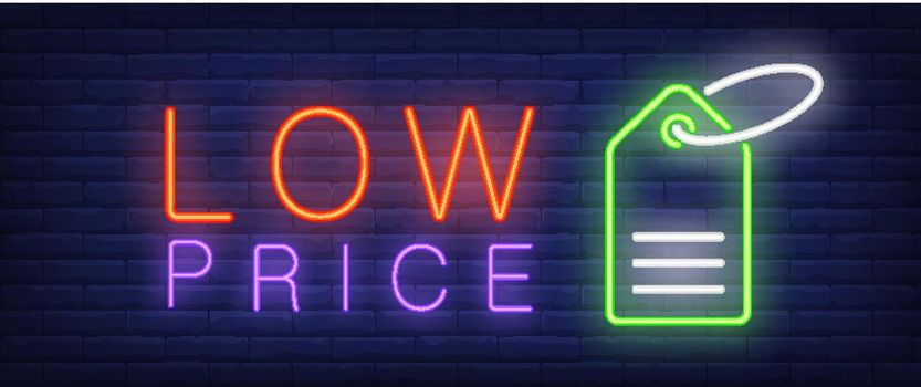 Low price neon text with tag