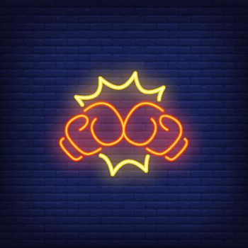 Neon icon of boxing punch