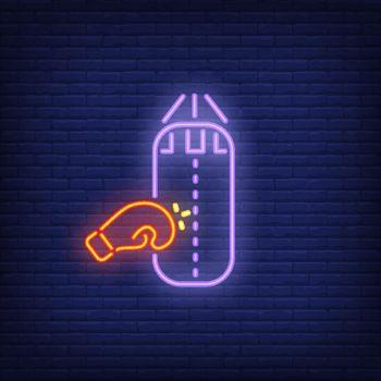 Neon icon of boxing training