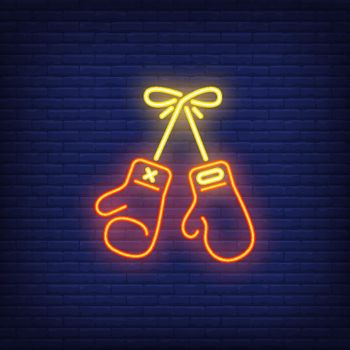 Neon icon of boxing