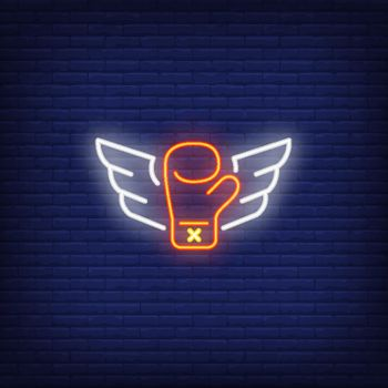 Neon icon of flying boxing glove with wings