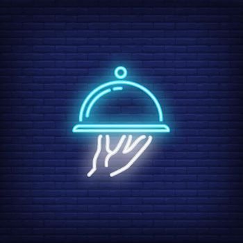 Neon icon of dish