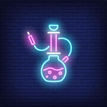 Neon icon of hookah