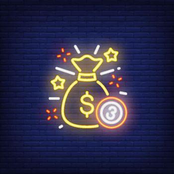 Neon icon of jackpot