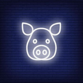 Neon icon of pig head