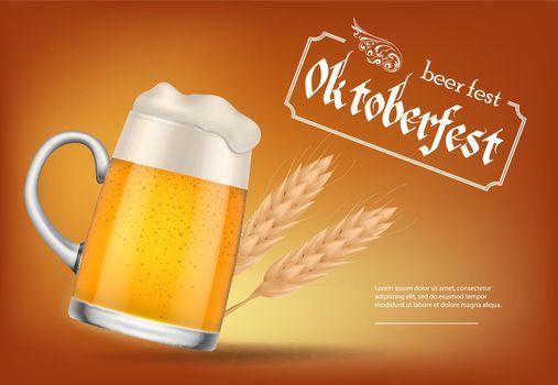 Oktoberfest, beer fest lettering with beer mug