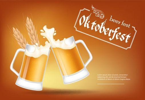 Oktoberfest, beer fest lettering with clinking beer mugs