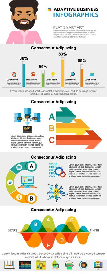 Technology and marketing concept infographic charts set