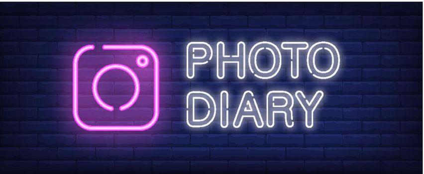 Photo diary neon sign