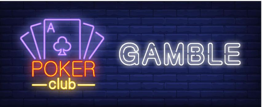 Poker club gamble neon sign