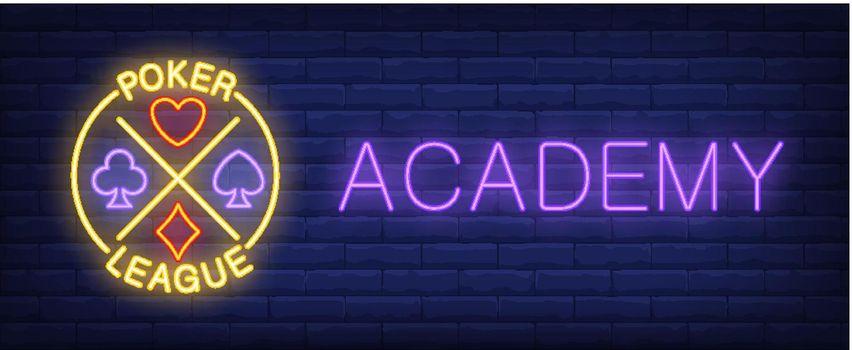 Poker league academy neon sign