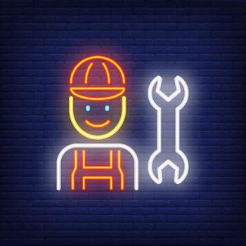 Smiling mechanic neon sign
