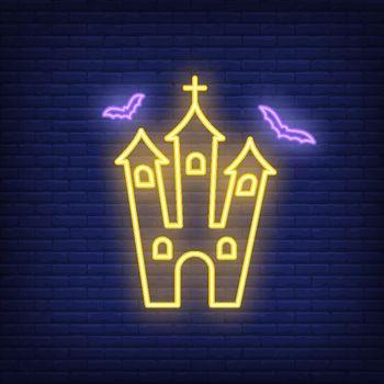 Spooky church neon sign