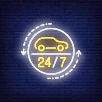 Twenty four hours auto repair shop neon sign