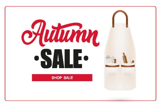 Autumn sale lettering in frame and apron with kitchen utensils