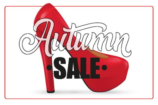 Autumn sale lettering in frame with woman high heel shoe
