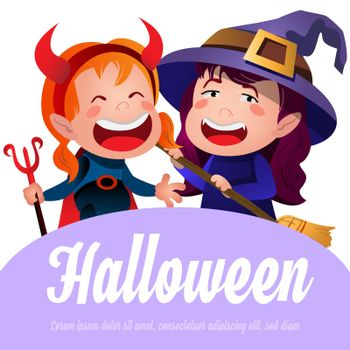 Halloween lettering with cheerful witches