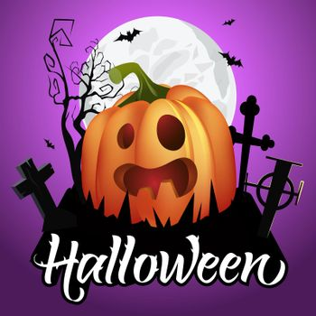 Halloween lettering. Spooky pumpkin on graveyard, bats and moon